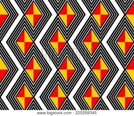 bold design of zig zag lines and geometric shapes, diamonds and triangles in art deco style