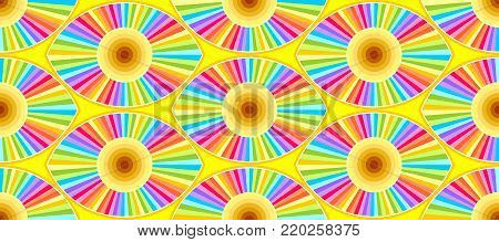 Optical effect abstract eye shapes in a seamless wallpaper pattern