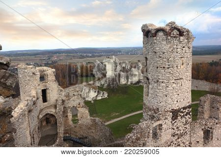 Ruins of old castle in Ogrodzieniec, Poland