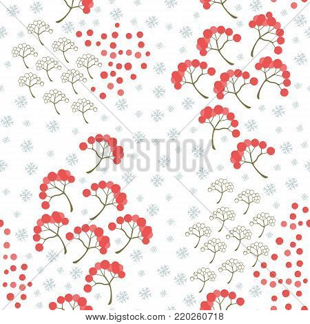 Merry Christmas and Happy New Yea set of modern seamless backgrounds with traditional symbols: mountain ash, berries, snowflakes