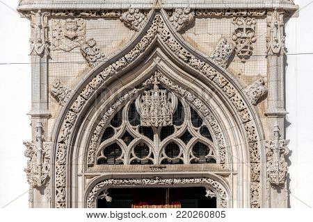 Fragment of the Gothic portal of the Church of St. John the Baptist in Tomar, Portugal