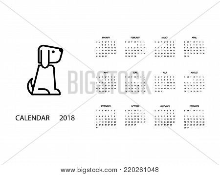 Calendar for 2018 Year on White Background. 2018 Chinese new year of Dog. Monthly calendar 2018 with cute dog. Vector illustration for planner design, cards, printing, wallpaper with dog