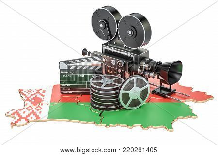 Belarusian cinematography, film industry concept. 3D rendering isolated on white background
