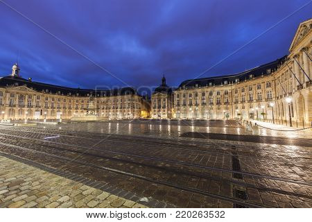 Place de la Bourse in Bordeaux. Bordeaux, Nouvelle-Aquitaine, France.