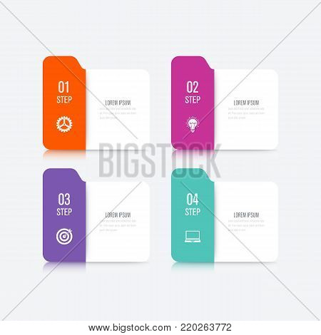 Business infographics template 4 steps square. Data and information visualization. Dynamic infographics stylish geometric. element for design business invitations, gift cards, flyers and brochures