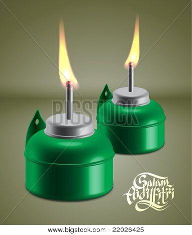 Vector Muslim Oil Lamp - Pelita