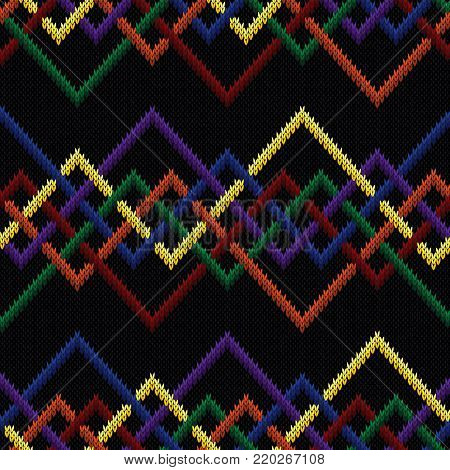 Knitting seamless vector pattern with interlaced zigzag lines on the black background as a fabric multicolor texture