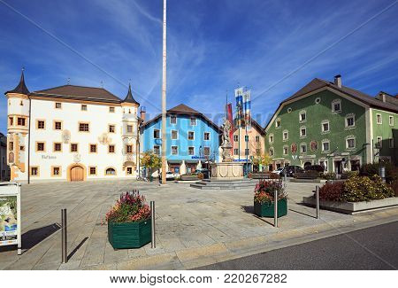 TAMSWEG/ AUSTRIA - OCTOBER 11, 2017. Central square of the market town of Tamsweg, located within the Central Eastern Alps. Lungau region, state of Salzburg, Austria