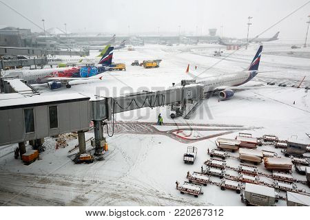 MOSCOW/ RUSSIA - DECEMBER 26, 2017. A jetway bridge in the winter. International Sheremetyevo Airport, Moscow, Russia.