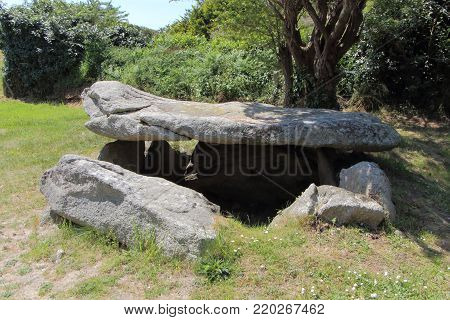 Saint Gonvel celtic dolmen in a little town called Landunvez in Brittany