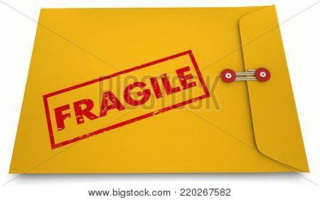 Fragile Yellow Envelope Caution Do Not Bend 3d Illustration