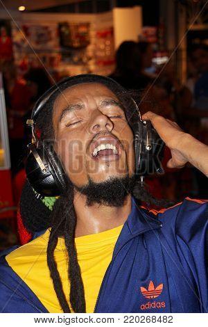 London, - United Kingdom, 08, July 2014. Madame Tussauds in London. Waxwork statue of Bob Marley.