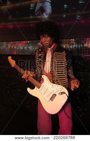 London, - United Kingdom, 08, July 2014. Madame Tussauds in London. Waxwork statue of Jimi Hendrix.