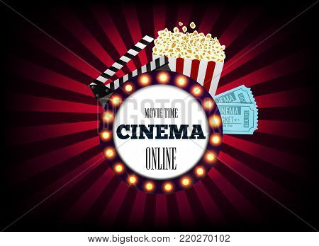 Realistic cinematograph elements of the film industry banner design. Movie Time, online. Popcorn, film strip and tickets. Vector illustration.