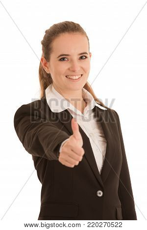 Beautiful Young Happy Caucasian Woman Gesture Succes With Showing Thumbs Up Islated Over White Backg