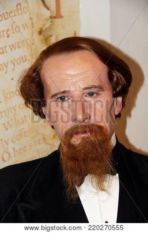 London, - United Kingdom, 08, July 2014. Madame Tussauds in London. Waxwork statue of Charles John Huffam Dickens