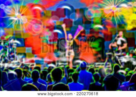 Colorful Musical Concert Of The Famous Pop Star With Spectators And Musicians