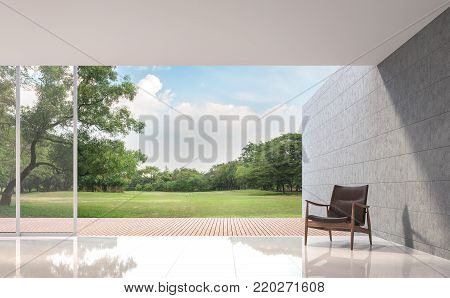 Modern Loft living room with garden view 3d rendering image.The Rooms have white tile floors ,There are large open doors. Overlooks wooden terrace and large garden.