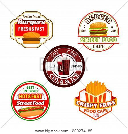 Fast food burger snack and soda drink label set. Hamburger, hot dog, cheeseburger and french fries, coffee and soft beverage isolated symbol for fast food restaurant and street food cafe emblem design