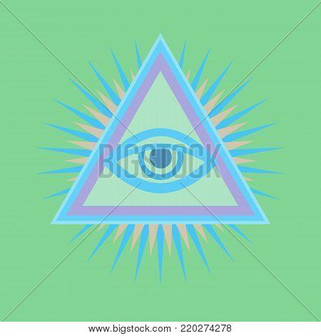 All-Seeing Eye of God (The Eye of Providence | Eye of Omniscience | Luminous Delta | Oculus Dei). Ancient mystical sacral symbol of Illuminati and Freemasonry. - Light-green version. poster