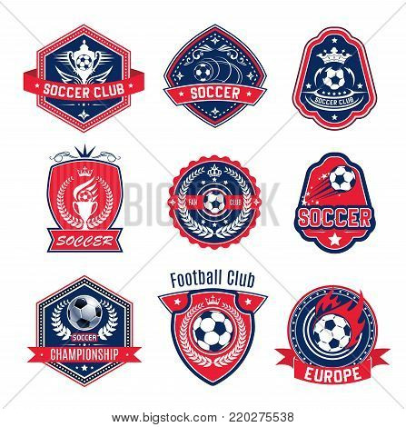 Soccer ball shield badge of football sport game club. Football winner cup, trophy and ball heraldic badge design with flame, laurel wreath and ribbon banner, crown and stars