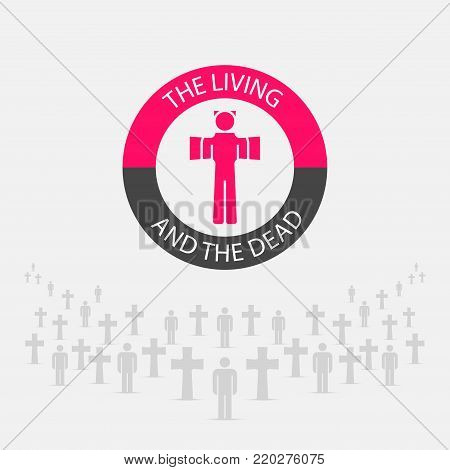 The Living and the Dead Creative Vector Emblem, Concept, Print. Round Badge for Births and Deaths Statistics. Cemetery Icon.