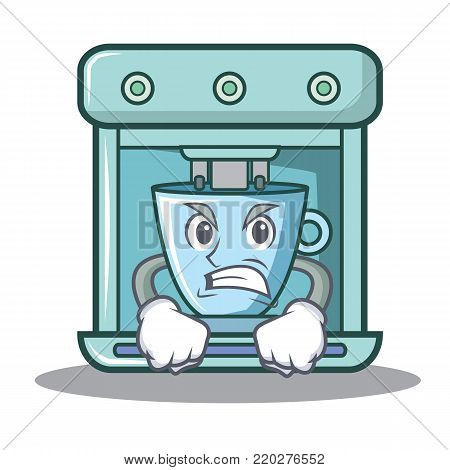 Angry coffee maker character cartoon vector illustration