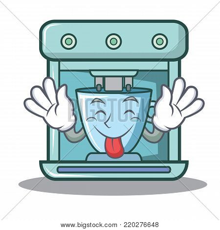 Tongue out coffee maker character cartoon vector illustration