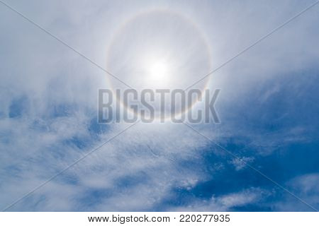 Sun halo 22 degrees in blue sky above chengdu, China poster