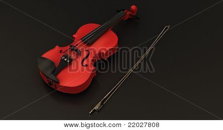 Red Violin on dark background