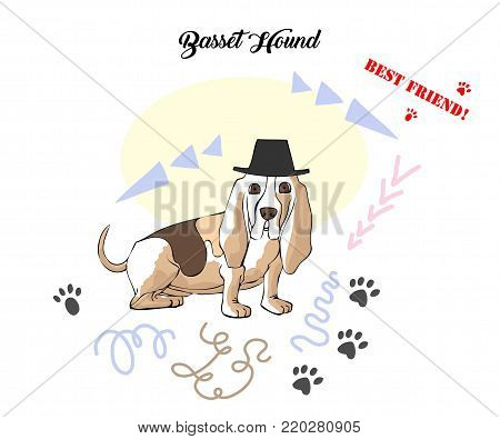 Funny Basset Hound Sketch. Hand drawn animals vector illustration