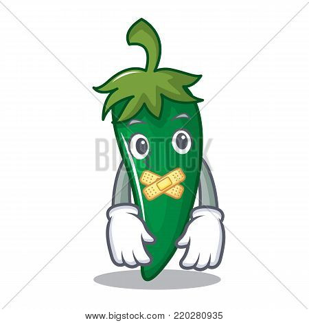 Silent green chili character cartoon vector illustration