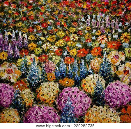 Palette knife oil painting - Abstract flower field, glade of colorful flowers background. Impressionism flower art.