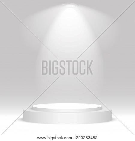 White round podium. Pedestal, scene, spotlight. Vector illustration