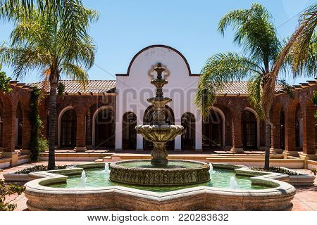 ENSENADA, MEXICO - MAY 3, 2017:  Fountain and courtyard of the hacienda style Adobe Guadalupe Winery and Inn in Baja California's Valle de Guadalupe, near the town of El Porvenir.