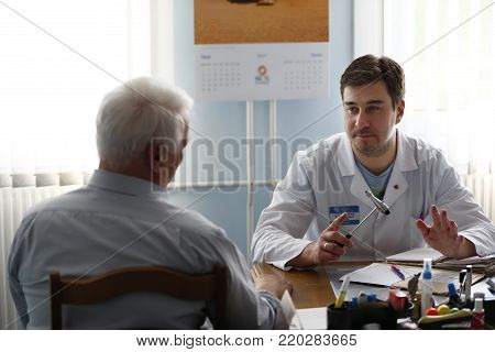 City Gomel, Belarus.May 31, 2017 Gomel medical hospital.Doctor neurologist takes the patient.Reception at the doctor of elderly people.In the doctor's office