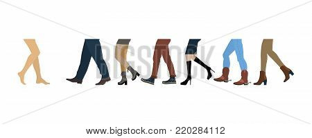 Legs of people group walking in autumn shoes. Flat design men and womenfeet with stylish colorful clothes and footwear on white background. Vector illustration