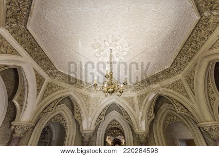MONSERRATE, PORTUGAL - October 3, 2017: The ceiling of the entrance hall of the Monserrate Palace, an exotic palatial villa located near Sintra, Portugal