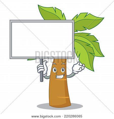 Bring board palm tree character cartoon vector illustration