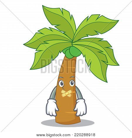 Silent palm tree character cartoon vector illustration