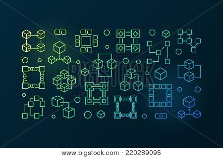 Block chain technology colored banner. Vector blockchain horizontal illustration in outline style on dark background