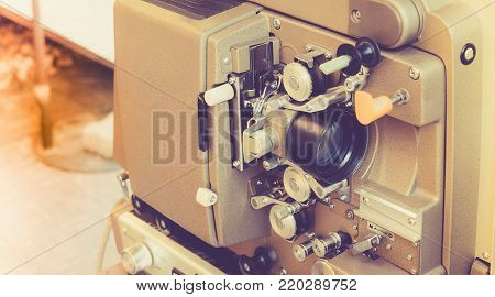 Close Up Of Vintage Classic Mobile 8Mm Or 16Mm Movie Film Projector With Vintage Color Style. Old Vi