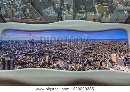 TOKYO, JAPAN - NOVEMBER 14, 2016: Panorama of Tokyo metropolis from 60th floor of Sunshine city skyscraper with marked landmarks, Ikebukuro, Japan. Tokyo Metropolis is the most populous city of Japan