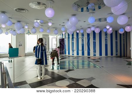 TOKYO, JAPAN - NOVEMBER 14, 2016: Interiors of 60th floor of Sunshine city skyscraper in Ikebukuro, Japan. Sunshine City is a commercial complex with Sunshine60 Observatory at 251 m above sea level.
