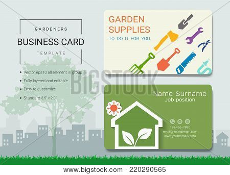 Gardeners business card or name card template, Simple style also modern and elegant with garden supplies tools kit background, It's fully layered and editable, Easy to customize it to fit your needs.