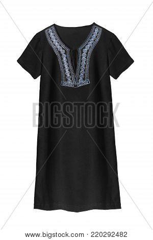 Black basic mini dress with blue embroidery on white background