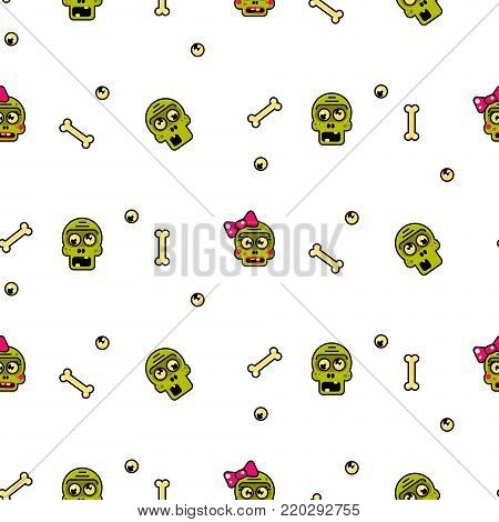 Zombie head cartoon cute couple seamless pattern. Junior fashion white fun background.