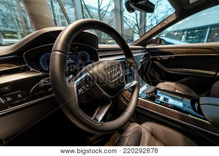 BERLIN - DECEMBER 21, 2017: Showroom. Interior of the full-size luxury car Audi A8 3.0 TDI quattro (286PS). Since 2018.