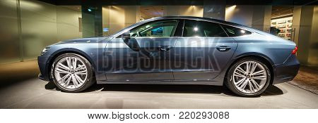BERLIN - DECEMBER 21, 2017: Showroom. Mid-size luxury car Audi A7 Sportback 55 TFSI quattro. Since 2017.