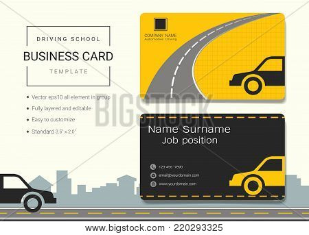 Driving school business card or name card template, Simple style also modern and elegant with car drive and road background, It's fully layered and editable, Easy to customize it to fit your needs.